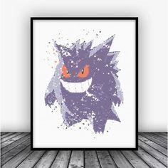Gengar Pokemon Go Art Print Poster by Carma Zoe #pokemongo #pokemon #go #watercolor #poster #art #print