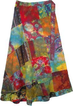 Cotton Size S Foldover Wide Leg Bold Print Funky Tier Hem Gypsy Flow Pants #04