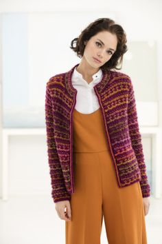 Knit the Slip Stitch Cardigan to add a bright pop of color to your spring attire! Made with 4 balls Landscapes Yarn and 4 balls Unique Yarn and Size 9 [5.5 mm] needles.