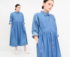 Vintage 90s Chambray Dress - Cotton Denim Grunge Oversize Babydoll Dress - Collared Button Up Long Sleeve Shirt Dress by SHOPPOMPOMVINTAGE