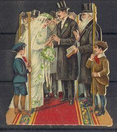 Judaica Rare Old Litho Jewish Die Cut Prize Wedding 1900's
