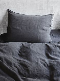Selena Washed Linen Bed Set Plomb