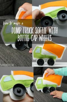 Upcycle bottle caps! Learn how to sew a simple dump truck softie with bottle cap wheels - kids can drive these around or babies can use them as a handmade car toy. Perfect felt toy to sew as a stocking stuffer!
