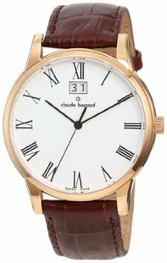 Claude Bernard Men's 63003 37R BR Classic Gents Rose Gold PVD Brown Leather Date Watch claude bernard. $400.00. Antireflective sapphire crystal. Brown leather band. Second-hand feature. White dial with black roman numerals. Big date window