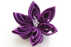 Violet Fascinator Silk Kanzashi Flower by cuttlefishlove on Etsy, £40.00