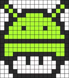 Android 1up Perler Bead Pattern / Bead Sprite perler,hama,square pegboard,video games,nintendo, super mario bros,mushroom,