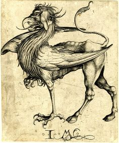 """GRIFFIN  Print made by Israhel van Meckenem After Martin Schongauer Date1465-1500 (c.)  via via http://marinni.livejournal.com  """"The griffin (also spelled """"grifon"""", """"gripon"""", or, most commonly, """"gryphon"""" and referred to in Latin as gryphes) is a legendary creature with the body of a lion and the head and wings of an eagle. As the lion was traditionally considered the king of the beasts and the eagle was the king of the birds, the griffin was thought to be a"""