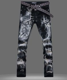 HOt Mens Punk wolf printed Denim Casual Classic Straight Jeans Chic Pant  trouser 800f623cc4