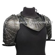 Fantasy spider web design polyurethane neck and shoulder armour. Larp Armor, Medieval Armor, Pauldron, Shoulder Armor, Fantasy Armor, 1, Manga, Anime, Inspiration