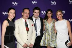 Designer Anthony Rubio flanked by various actors on SYFY Network shows (L-R Jaime Murray- Defiance, Samuel Witwer and Meaghan Roth- Being Human and Julie Banz- Defiance at the SYFY Network's New Season Premier Party in New York