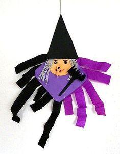 Hexe aus Bierdeckel zum Aufhängen - Halloween-basteln - Meine Enkel und ich - Made with schwedesign.de