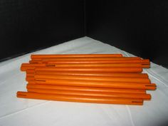 "Lot of 19 Hasbro Tinkertoy Construction Set, 7"" Orange Stick Peg Rod Piece Parts #Hasbro"