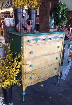 Painted this while channeling my secret inner boho chic!  Chalk Paint® by Annie Sloan in Florence, English Yellow and Old a White with Dark Wax.  Royal Design Studio stencil.