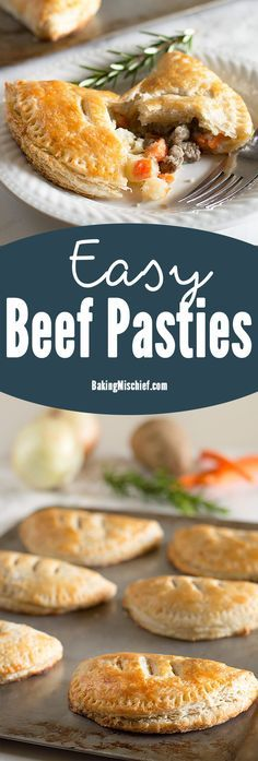 Easy beef pasties, buttery, flaky buttermilk pie crust wrapped around a savory mixture of steak, carrots, potatoes, and onions. This is one of my favorite recipes to ever come out of my kitchen! Recipe includes nutritional information and freezer instructions. From BakingMischief.com