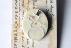 Ya gotta have HEART!   SNOWMAN with HEART handmade ceramic uniquely by FaithAnnOriginals, $12.00