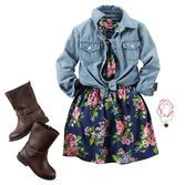 A classic floral print looks super sweet under denim. Tie the ends and add riding boots for a charming fall style!