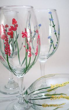 Hand Painted Wine Glasses Flowers...