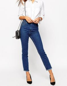 ASOS Farleigh High Waist Slim Mom Jeans in Juniper Wash