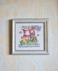 The Owl and the Pussycat - Completed Cross Stitch, Wall Hanging, Nursery Decor, Embroidery - pinned by pin4etsy.com