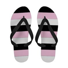 Super cute black, pink and white stripes #flipflops by khoncepts.com  #blackandpink
