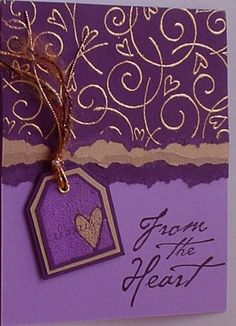 Golden Hearts w/PE using Stampin Up Too Terrific Tags retired stamp set.