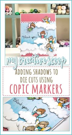 Adding Shadows to Die Cuts using Copic Markers - Check out this Step by step tutorial using Lawn Fawn Stamps on how to include Copics with Die Cuts! Sky- B12,B00, B000Skin – E000, E11Hair – E44, E42, E40 and E33, E31, E37Wings and Dress – BG18, BG13, BG11, B00, B12, RV14, RV13, R01, G82, G85, E33. Y35Clouds – N0, N3, C00
