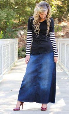 Diana is a womens modest long A-line denim maxi skirt with an elastic drawstring waist