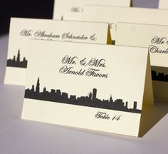 Chicago Place Escort Card Wedding Skyline Black White Handmade Bridal Custom Personalize Other Cities Available. $1.55, via Etsy.