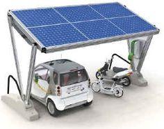 Solar powered service station. Ombrières solaires - parkings et stations-service photovoltaïques