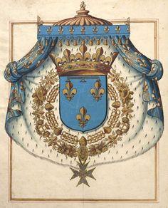 Gaston de France, duc d'Orléans [seul frère de Louis XIII] (f°5v) -- «Recueil des armoiries des ... douze pairs de France, et celles des modernes ducz, pairs et non pairs … Contenant aussy les armoiries de tous les princes, seigneurs et prelats qui ont assisté aux sacres des roys Henry le Grand,… et Louis 13e, son filz, dit le Juste […]», par M. de Valles, Paris, 1634 [BNF, Ms Fr 2768 - ark:/12148/btv1b84701826]