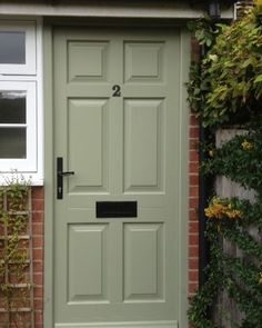 My front door color of the week is Farrow & Ball Lichen. Green Front Doors, Exterior Front Doors, Front Door Colors, Exterior House Colors, Interior And Exterior, Timber Windows, Timber Door, Casement Windows, Door And Trim Paint
