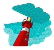 This free embroidery design is a lighthouse.