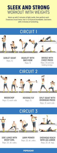 Workout with weights to get sleek and strong