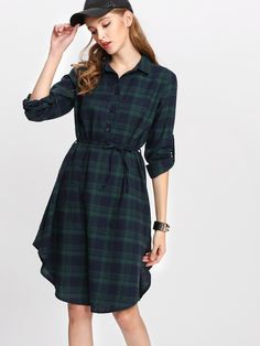 Long Sleeve Dresses. Knee Length Shirt Decorated with Button, Belted. Designed with Collar. Natural Waist. Perfect choice for School wear. Plaid design. Trend of Spring-2018, Fall-2018. Designed in Multicolor. Fabric has no stretch.