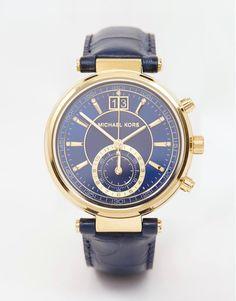 Michael+Kors+Tan+Sawyer+Watch navy gold chronograph