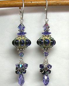 Earrings lampwork beads