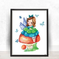 Fairy  Watercolor  Digital Print Poster Wall Art by ZuzisPrints