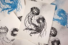 Lithography Jellyfish by Lauren Massy