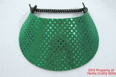 Many, many different colors of glitzy sequin visors. Kelly Green Glitzy Sun Visor New Spiral Lace 1 Size Most Cruise Wear #IncredibleVisor #Visor