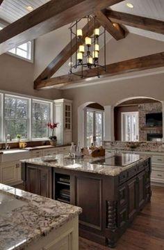 Trendy Rustic Kitchen Lighting Fixtures Exposed Beams Ideas - My Home Decor Dark Kitchen Cabinets, Kitchen Paint, Kitchen Countertops, Kitchen Decor, Kitchen Ideas, Kitchen Wood, Cream Cabinets, Brown Cabinets, Island Kitchen