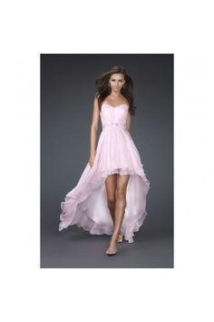 Hot Selling Sweetheart Strapless Sleeveless High Low Ruched Natural Elegant Chiffon Pink Homecoming Dresses