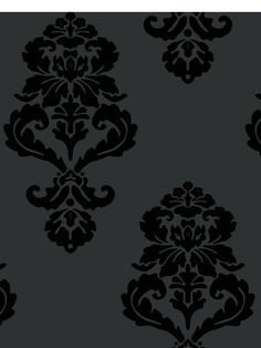Floral medallions appear in a diamond configuration on a solid background. This statement making wallcovering, influenced by traditional damask design, has the bombastic look of bold modern décor. Select cream on beige, brash black on snow white or shiny obsidian on midnight black.
