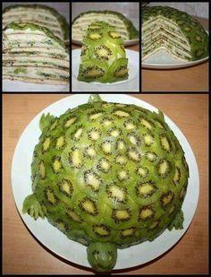 Torte mit Kiwi, Bananen und Kokosnussfleisch (Rezept auf englisch)