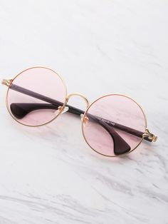 ad37c3a1431 Shop Two Tone Frame Round Sunglasses online. SheIn offers Two Tone Frame  Round Sunglasses  amp