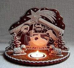 Gingerbread Nativity with real candle!