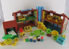 Vintage Fisher Price Little People Tudor House 952 With 29 Pc Furniture Extras #FisherPrice