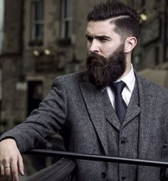 Beard in three piece suit.