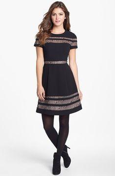 BCBGMAXAZRIA Lace Inset Fit & Flare Dress