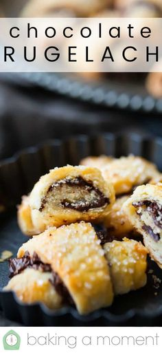 Chocolate Rugelach Chocolate Rugelach Cookies: Tender cream cheese pastry rolled with dark chocolate. Such a great con Jewish Desserts, Jewish Recipes, Cookie Desserts, Cookie Recipes, Jewish Food, Dessert Recipes, Rugalach Recipe, Chocolate Rugelach Recipe, Jewish Cookies