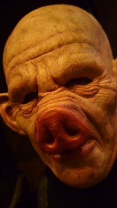 Pig Man silicone mask from Shattered FX at the St. Louis Transworld Halloween and Haunt Convention 2014.: